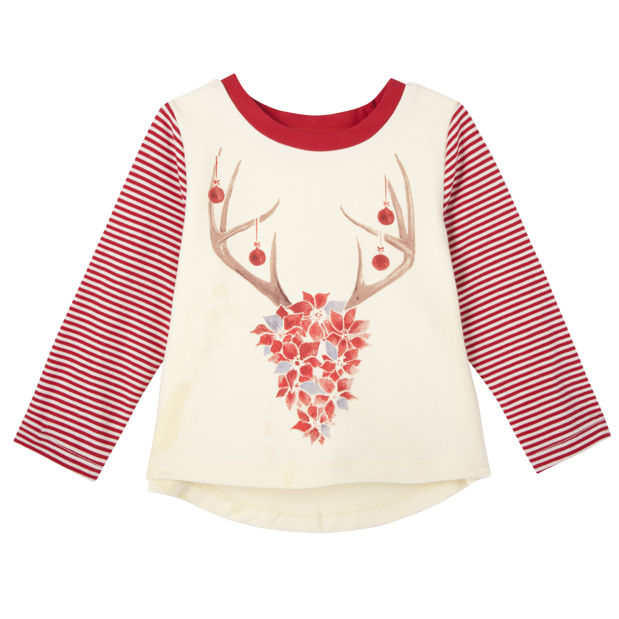 Andy & Evan Holiday Poinsettias Deer Tee   Olive and Gray