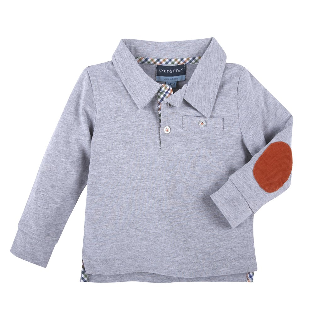 Andy & Evan Grey Elbow Patch Polo   Olive and Gray