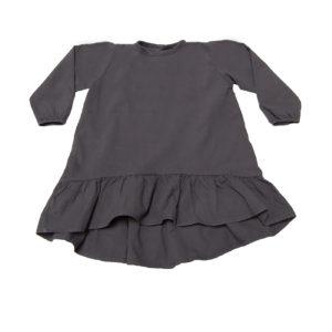 Go Gently Ruffle Hem Dress in Charcoal Gray