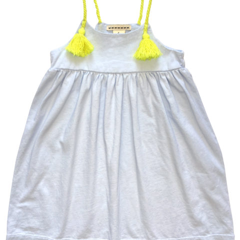 Anthem of the Ants Tassel Sun Dress - Grey with Yellow Straps
