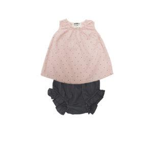 Go Gently Girls Poplin Baby Set-Sand Charcoal